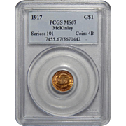 1917 Pcgs MS67 $1 McKinley Gold