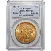 1857-S Pcgs MS64 $20 Liberty Head Gold