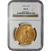 1925-S Ngc MS62 $20 St. Gaudens Gold