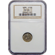 1838 Ngc MS64 No Drapery, Lg Stars Seated Liberty Half Dime