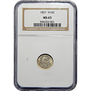 1857 Ngc MS65 Seated Liberty Half Dime