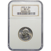 1932-D Ngc MS61 Washington Quarter