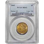 1905 Pcgs MS62 $5 Liberty Head Gold