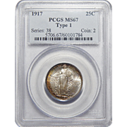 1917 Pcgs Type 1 MS67 Standing Liberty Quarter