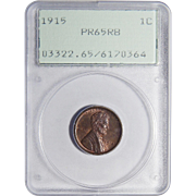 1915 Pcgs PR65RB Lincoln Wheat Cent