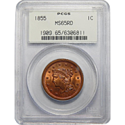1855 PCGS MS65RD Upright 55 Braided Hair Large