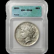 1921 Icg XF45 High Relief Peace Dollar