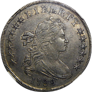 1799/8 Ngc AU53 15 Reverse Stars, BB-141,B-3 Variety Draped Bust Dollar