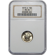 1918-D Ngc MS64 Mercury Dime