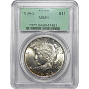 1934-S Pcgs MS64 Peace Dollar