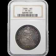 1859 Ngc PF63 Liberty Seated Dollar