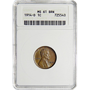 1914-D Anacs MS61BN Lincoln Wheat Cent