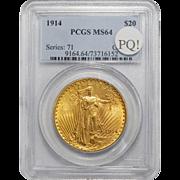 1914 Pcgs MS64 PQ! $20 St Gauden