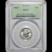 1939 Pcgs MS67 Mercury Dime
