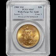 1908 Pcgs MS67 $20 No Motto - Wells Fargo St. Gaudens Gold