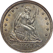 1853 Icg MS63 Arrows and Rays Liberty Seated Quarter