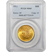 1911 Pcgs MS65 $10 Indian Gold