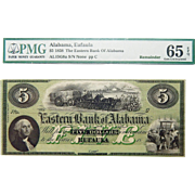 1858 PMG 65 EPQ $5 Alabama, Eufaula Obsolete Banknote