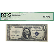 1935D Pcgs  65PPQ $1 Silver Certificate Narrow Fr. 1613N