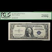 1935D Pcgs 67PPQ $1 Silver Certificate Narrow Fr. 1613N