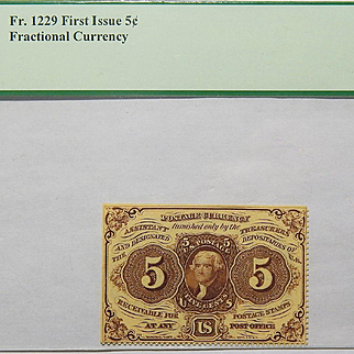 First Issue 5c Perforated Edges; w/o Monogram Fractional Currency Fr. 1229 PCGS 50PPQ