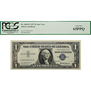 1957 Pcgs 65PPQ $1 Silver Certificate Star Note Fr. 1619*