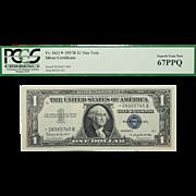 1957B Pcgs 67PPQ $1 Silver Certificate Star Note Fr. 1621*