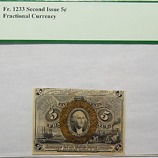"PCGS 50PPQ Second Issue 5c w/ Surcharge ""18-63"" Fractional Currency Fr. 1233"