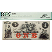 18__ Pcgs 65 PPQ $1 New Hampshire, Rochester Obsolete Banknote