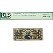 PCGS 45PPQ Third Issue 50c Green Reverse w/ Surcharge; w/o Design Figures Spinner Fractional Currency Fr. 1335