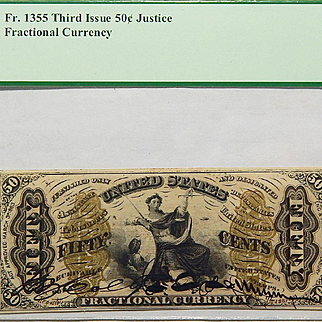 PCGS 58 Third Issue 50c Red Rev.; Autographed Signatures; w/o Surcharges Justice Fractional Currency Fr. 1355