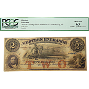1857 Pcgs 63 $2 Nebraska, Omaha City Obsolete Banknote