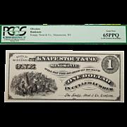 Pcgs 65PPQ $1 Wisconsin, Menomonie Obsolete Banknote