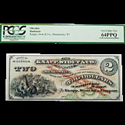 Pcgs 64PPQ $2 Wisconsin, Menomonie Obsolete Banknote