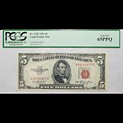 1953 Pcgs 65PPQ $5 Legal Tender Note Fr. 1532