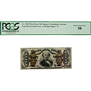 "PCGS 58 Third Issue 50¢ Type II Green Reverse; w/ Design Figure ""1"" Spinner Fractional Currency Fr. 1341"