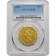1851 Pcgs XF40 $10 Liberty Head Gold