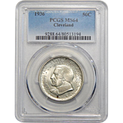 1936 Pcgs MS64 Cleveland Half Dollar