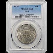 1936 Pcgs MS63 York Half Dollar