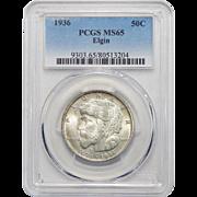 1936 Pcgs MS65 Elgin Half Dollar