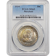 1934 Pcgs MS65 Maryland Half Dollar