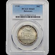 1936 Pcgs MS65 Delaware Half Dollar