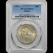 1936 Pcgs MS66 Albany Half Dollar