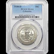 1936-D Pcgs MS64 Columbia Half Dollar