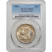 1921 Pcgs MS65 Alabama 2X2 Half Dollar