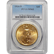 1924-D Pcgs MS63 $20 St. Gaudens Gold