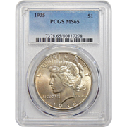 1935 Pcgs MS65 Peace Dollar