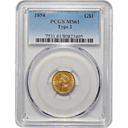 1854 Pcgs MS61 Type 2 $1 Gold