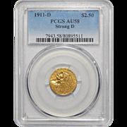 1911-D Pcgs AU58 Strong-D $2.50 Indian Gold