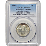 1916 Pcgs Genuine - Cleaning AU Details Standing Liberty Quarter
